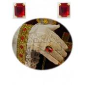 Ring rechthoek met rode steen