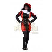 Pietenpak Dames Velours de panne Zwart-Rood