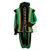 Pietenpak Toledo Groen-Zwart met Cape