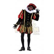 Piet Fluweel Met Cape Malaga Zwart-Rood