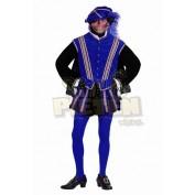 Zwarte Pietenpak San Sebastian Blauw Zwart