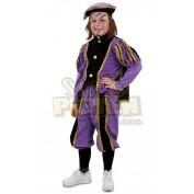 Pietenpak kinderen met cape paars-zwart